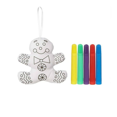 Adorable DIY Color Me Cloth Ornaments Holiday Decorating Kit, in Gingerbread