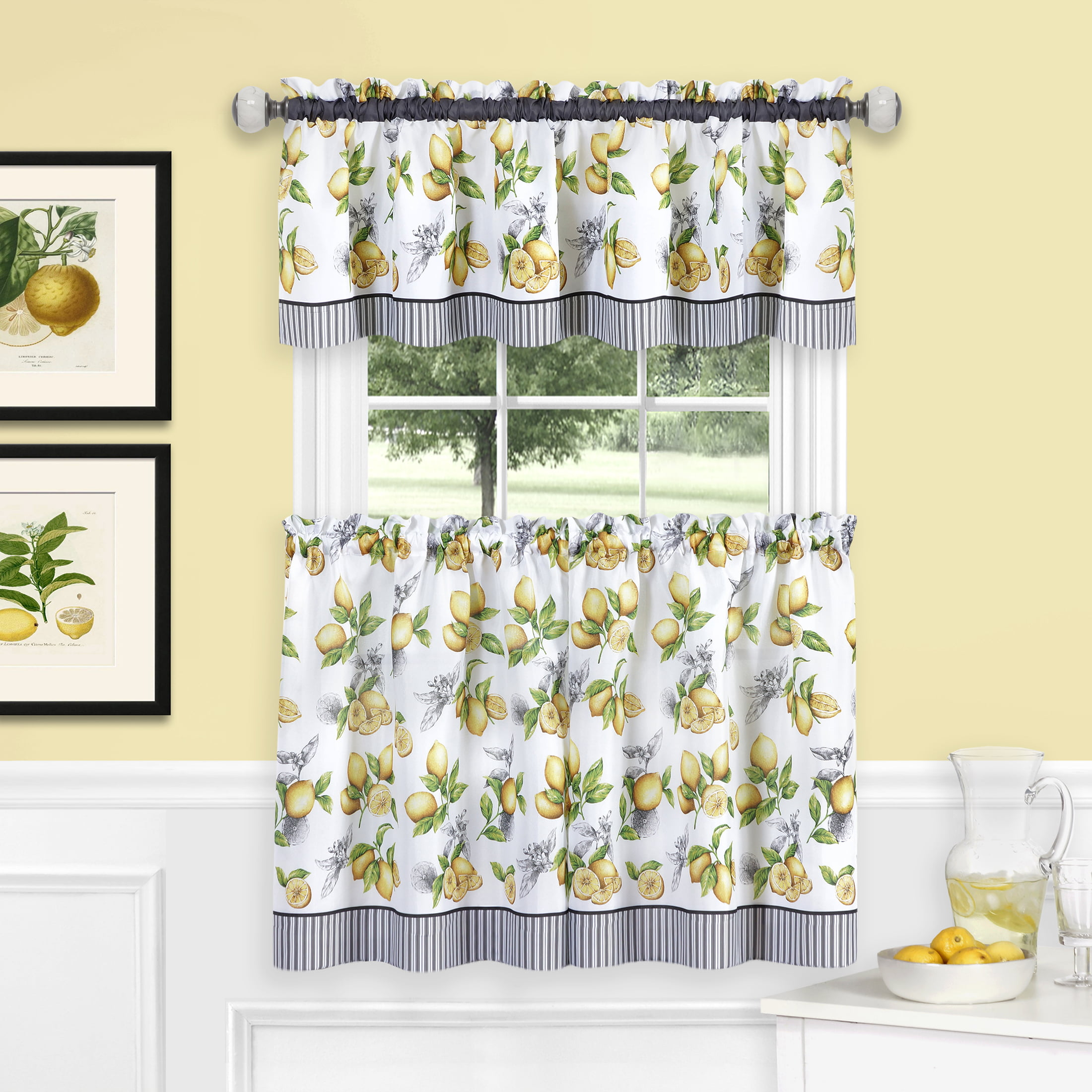 Powersellerusa 3 Piece Kitchen Curtains And Valance Set Rustic Lemon Cafe Curtains Farmhouse Kitchen Living Room And Bedroom Decor Lemon Print Walmart Com Walmart Com