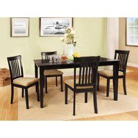 Homelegance Weston Home Tibalt 5 Piece Rectangle Black Dining Table Set - 60 in. with Mission Back Chairs