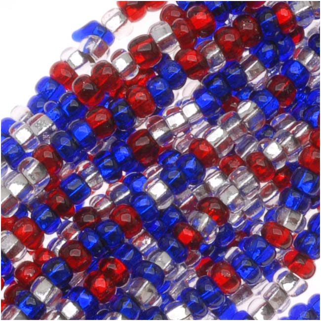 "Czech Seed Beads ""Patriotic"" Mix 11/0 Red White Blue (1 Hank/4000 Beads)"