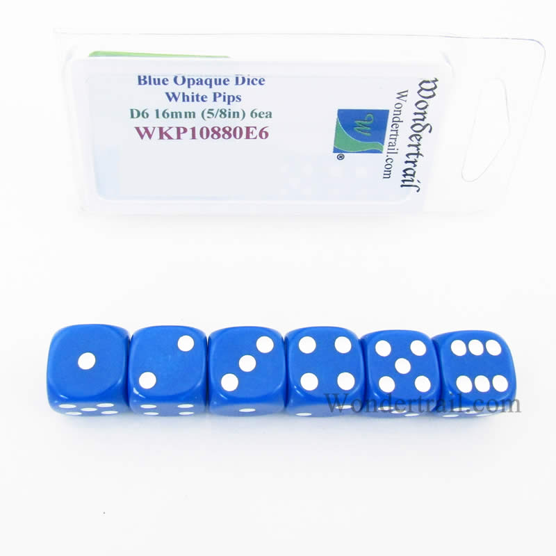 Blue Opaque Dice with White Pips D6 16mm (5/8in) Rounded Corners Pack of 6 Wondertrail