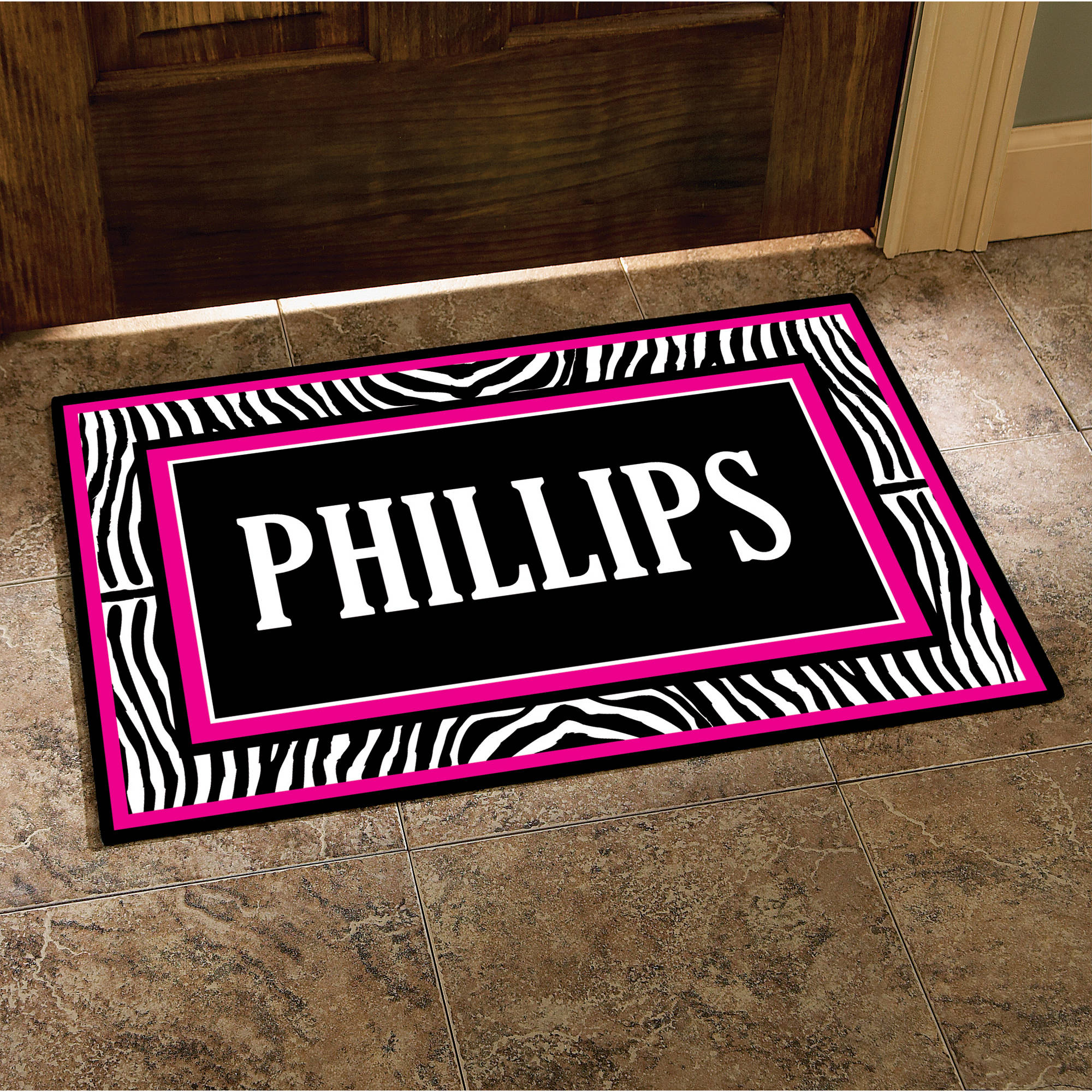 "Personalized Zebra Last Name Doormat, 24"" x 36"""