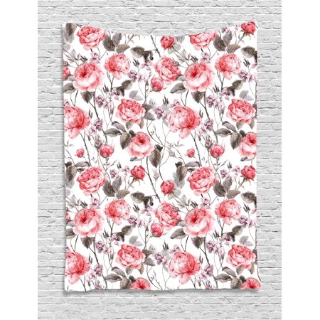 Rose Tapestry, Classic Vintage Floral Pattern Watercolor Style Bouquet of English Roses Wildflowers, Wall Hanging for Bedroom Living Room Dorm Decor, Coral Taupe, by Ambesonne (English Rose Pattern)