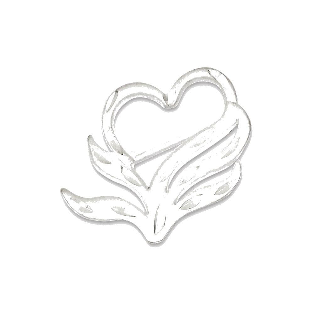 Sterling Silver Satin Finish Diamond Cut Heart Pin by Goldia