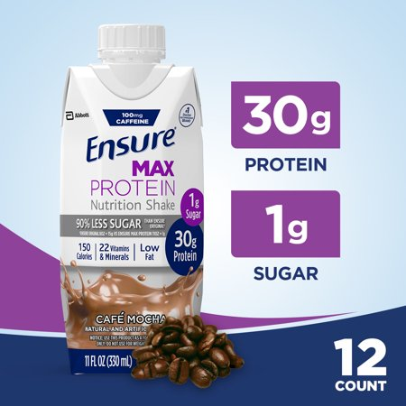 Ensure Max Protein Nutrition Shake with 30g of protein, 1g of Sugar, High Protein Shake, Cafe Mocha, 11 fl oz, 12 (Protein Shake Nutrition)