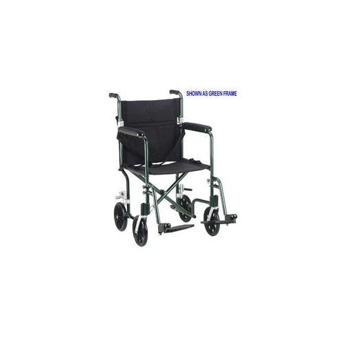 Drive Medical FW17BL Flyweight Lightweight Aluminum Transport Wheelchair  Aluminum,Blue