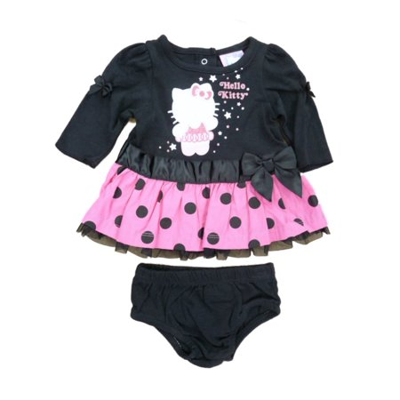 Hello Kitty Birthday Outfit (Hello Kitty Infant Girls Black & Pink Polka Dot Ruffled Lace Dress)