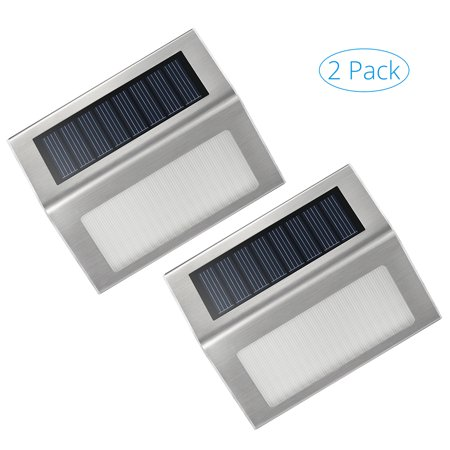 Victsing outdoor stainless steel led solar lights for stairs deck patio 2 pack - Solar deck lights for steps ...