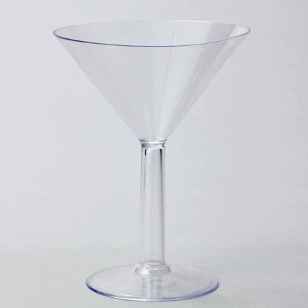Plastic Large Martini Glass Disposable Cup, Clear, 9-Inch