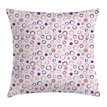 Tone Geometric Circles - Geometric Circle Decor Throw Pillow Cushion Cover, Pastel Toned Feminine Circular Figure Spherical Dots Spread Artwork, Decorative Square Accent Pillow Case, 18 X 18 Inches, Pink Violet, by Ambesonne