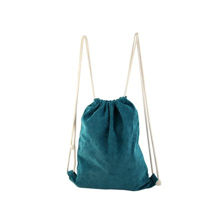 Outdoor Picnic Travel Protable Storage Pouch School Sport Pack Tote Bag String Drawstring Backpack Teal