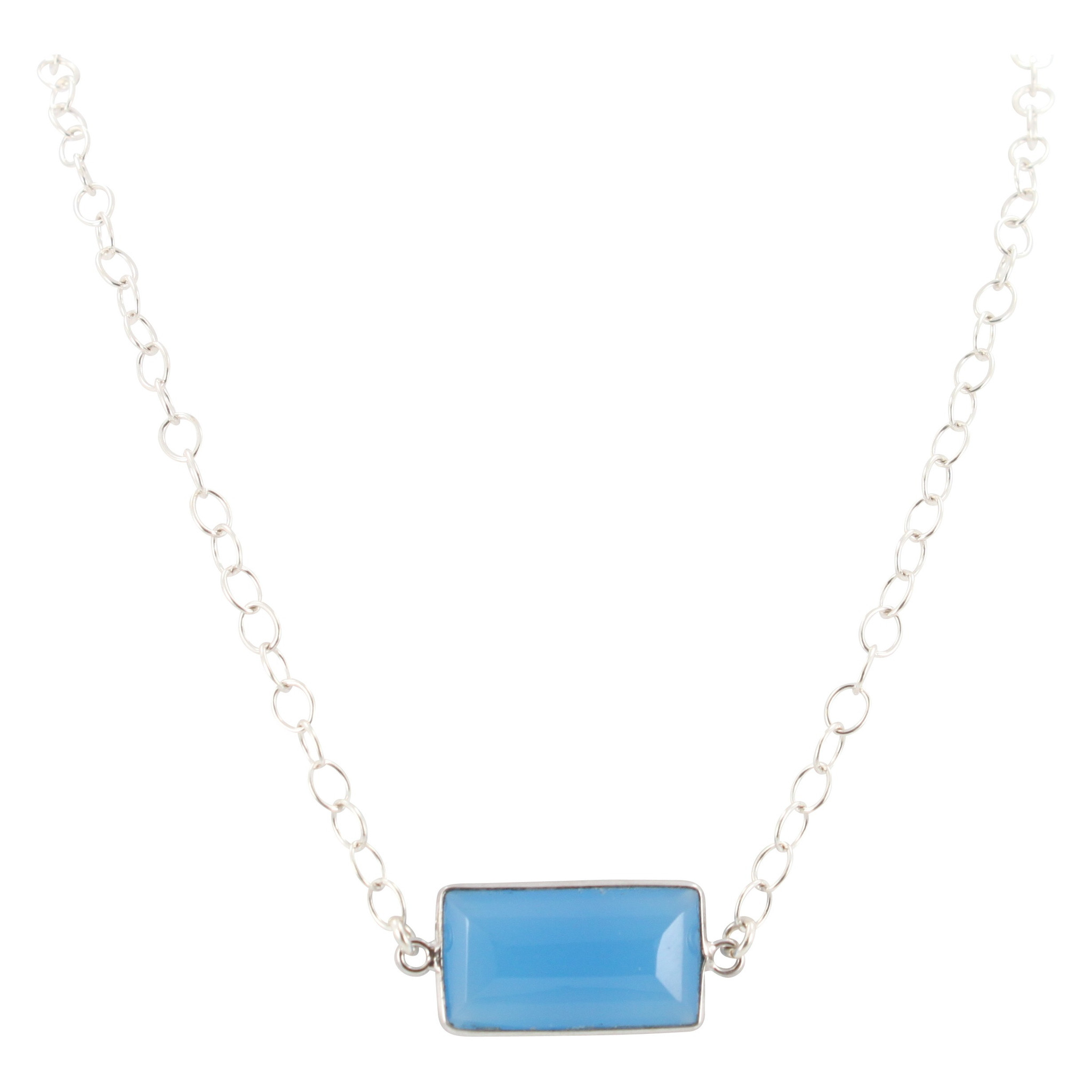 Blue Chalcedony Gemstone Necklace in Sterling Silver, #6418-ss by