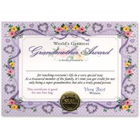 World's Greatest Grandmother Certificate (Pack of 6)
