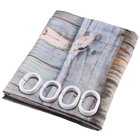 12 Hooks Waterproof Wood Door Printing Shower Curtain 3D Bathroom Free 70x70''  - image 2 de 6