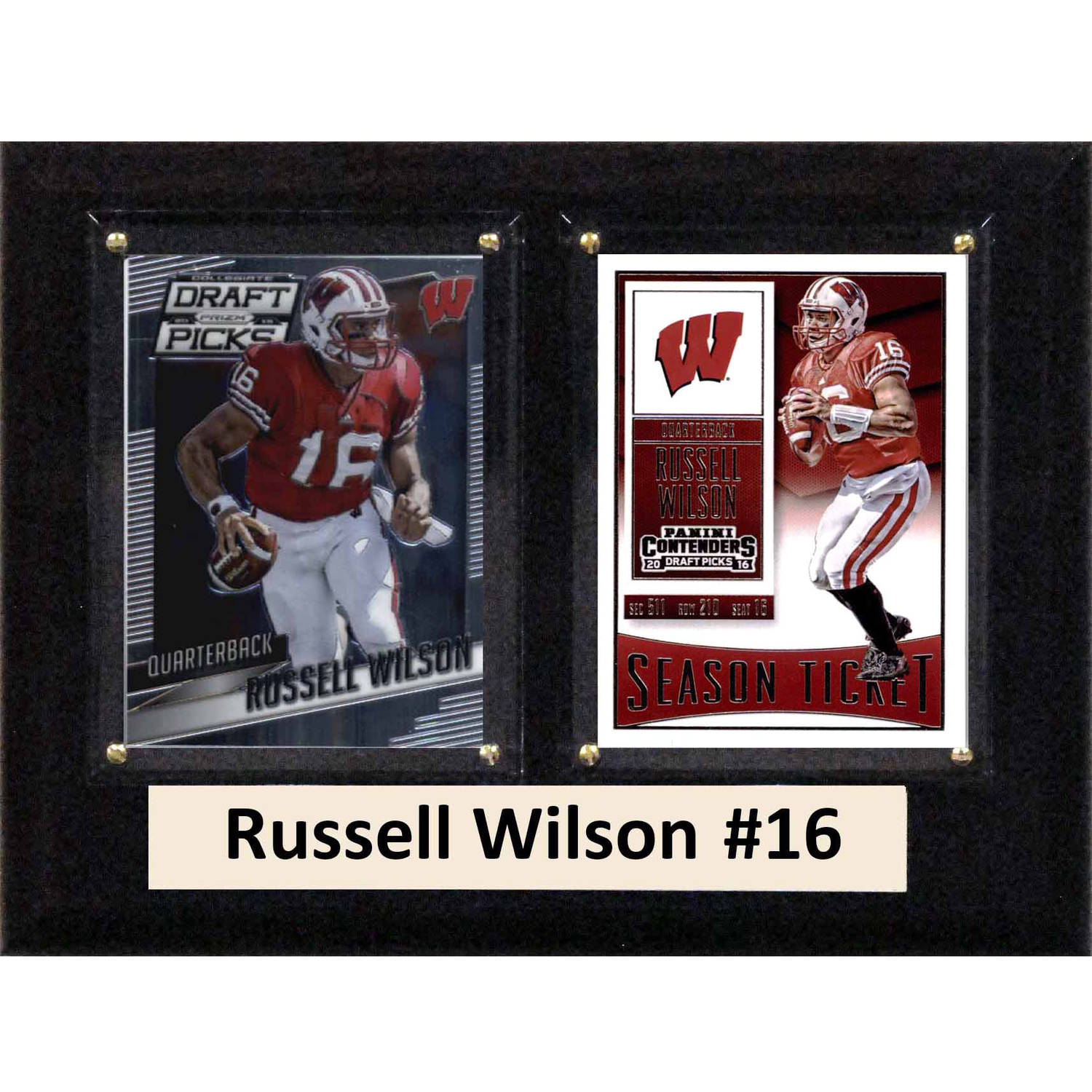 "C & I Collectables NCAA 6"" x 8"" Russell Wilson Wisconsin Badgers 2 Card Plaque"