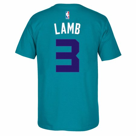 State Hornets Basketball - Jeremy Lamb Charlotte Hornets NBA Adidas Teal Name & Number Player Jersey Team Color T-Shirt For Men
