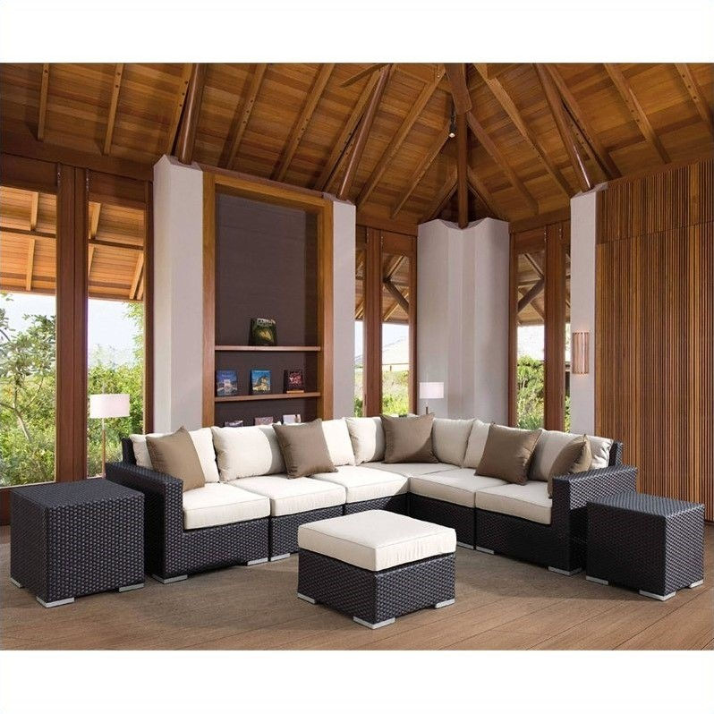Sunset West Solana Sectional in Chocolate