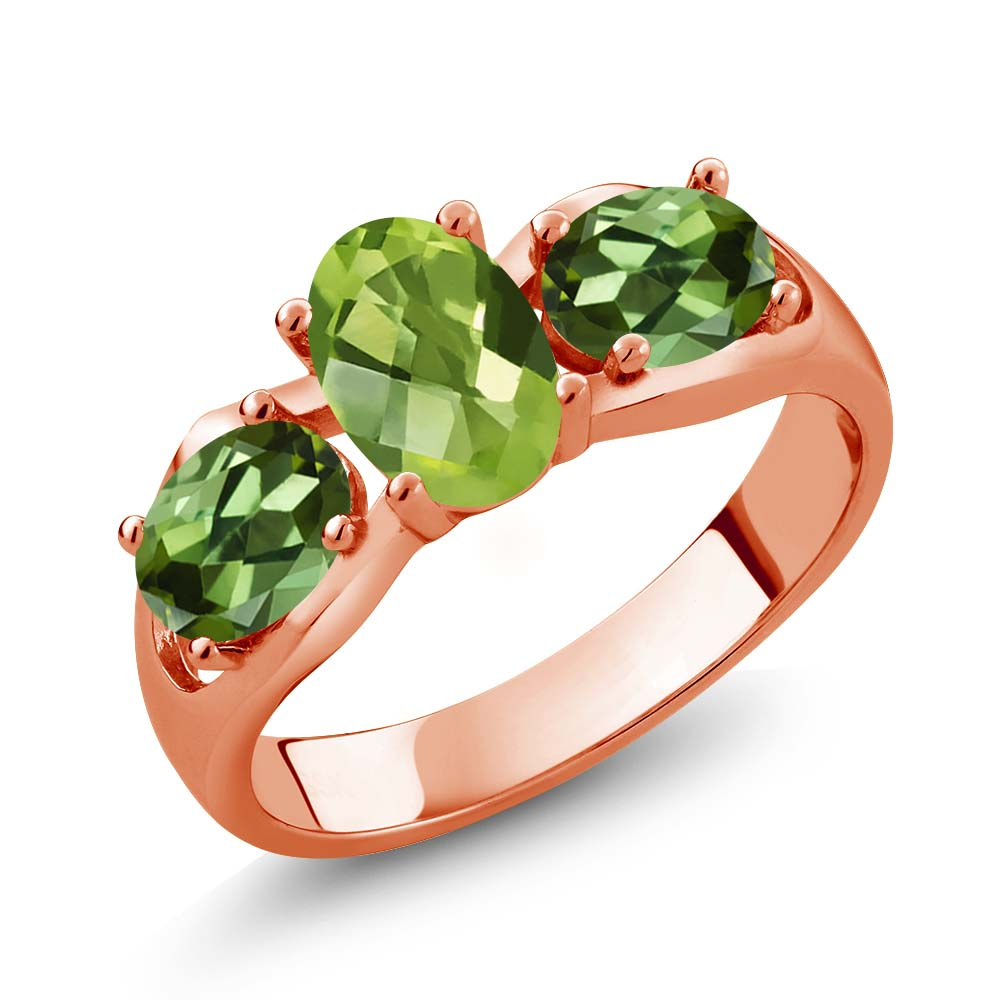 1.85 Ct Oval Checkerboard Green Peridot Green Tourmaline 18K Rose Gold Ring by