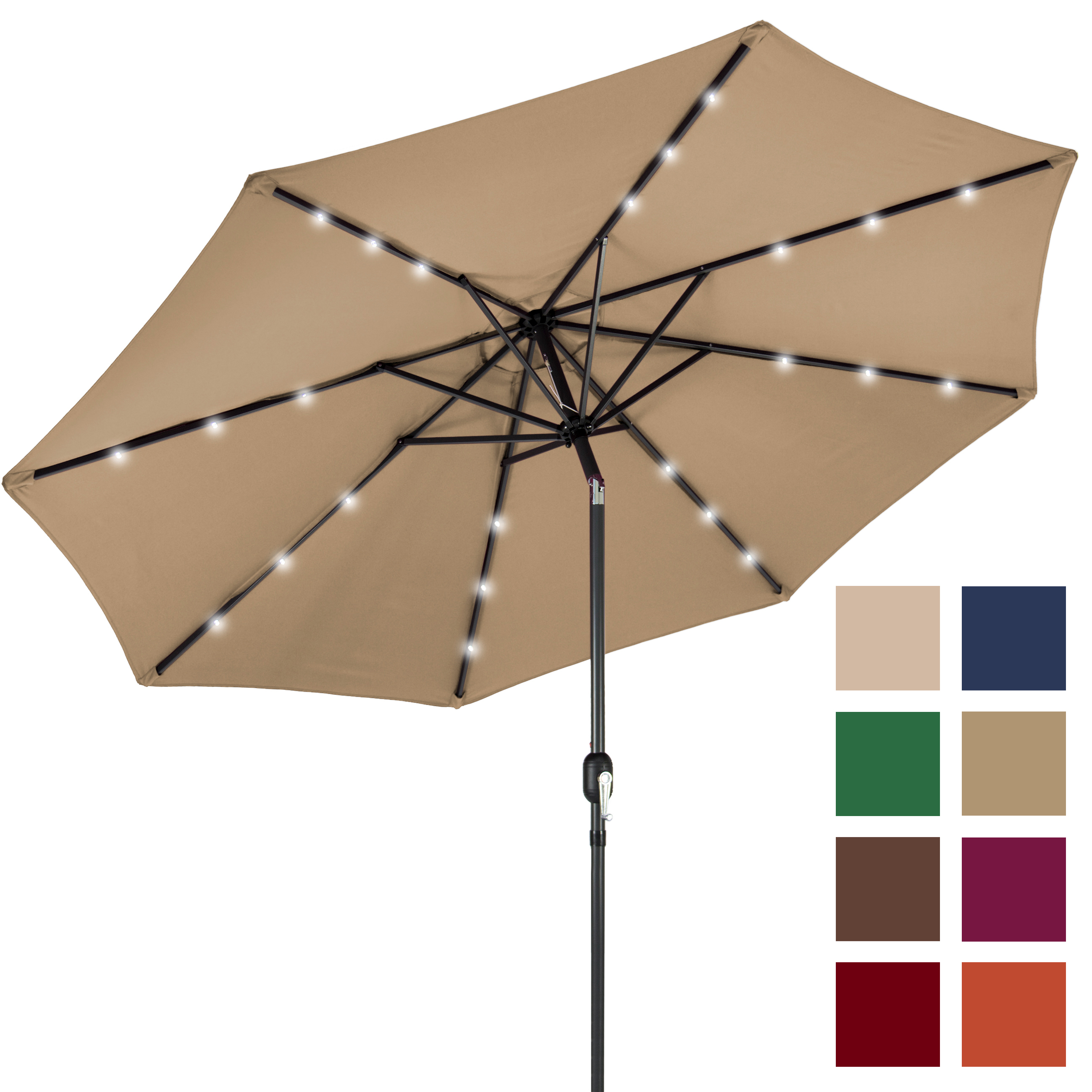 BCP 10FT Deluxe Patio Umbrella W  Solar LED Lights, Tilt Adjustment Multicolor by