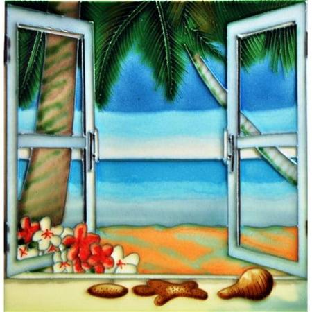 En Vogue B-386 8 x 8 in. Window View, Decorative Ceramic Art (Decorative Ceramic Art Tile)