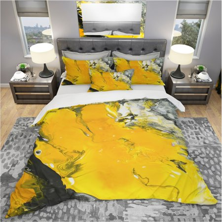 DESIGN ART Designart 'Yellow , Black and Marbled Acrylic Painting' Modern & Contemporary Bedding Set - Duvet Cover & Shams (Black White Contemporary Bedding)