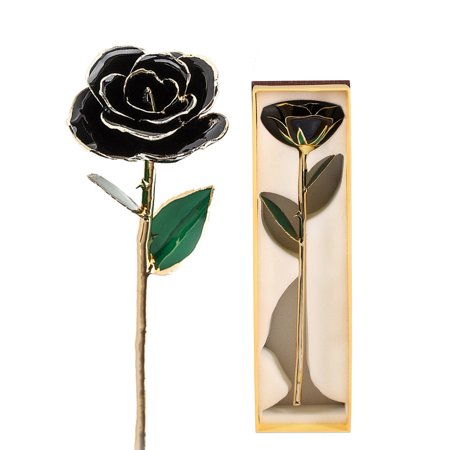 ACOUTO Archery Arm Guard,Long Stem Dipped 24k Gold Trim Red Rose In Gold Gift Box with stand (black rose with stand) thumbnail