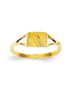 14k Yellow Gold Childs Polished & Satin Ring