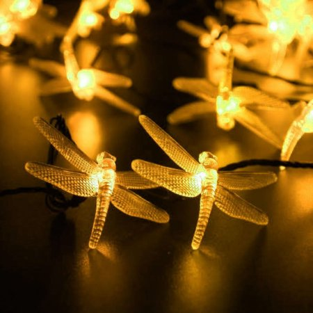 LUCKLED Patio Solar Powered String Lights, 30 LED 19.6ft Dragonfly Fairy Outdoor String Lights, Decorative LED String Lights (Warm White)