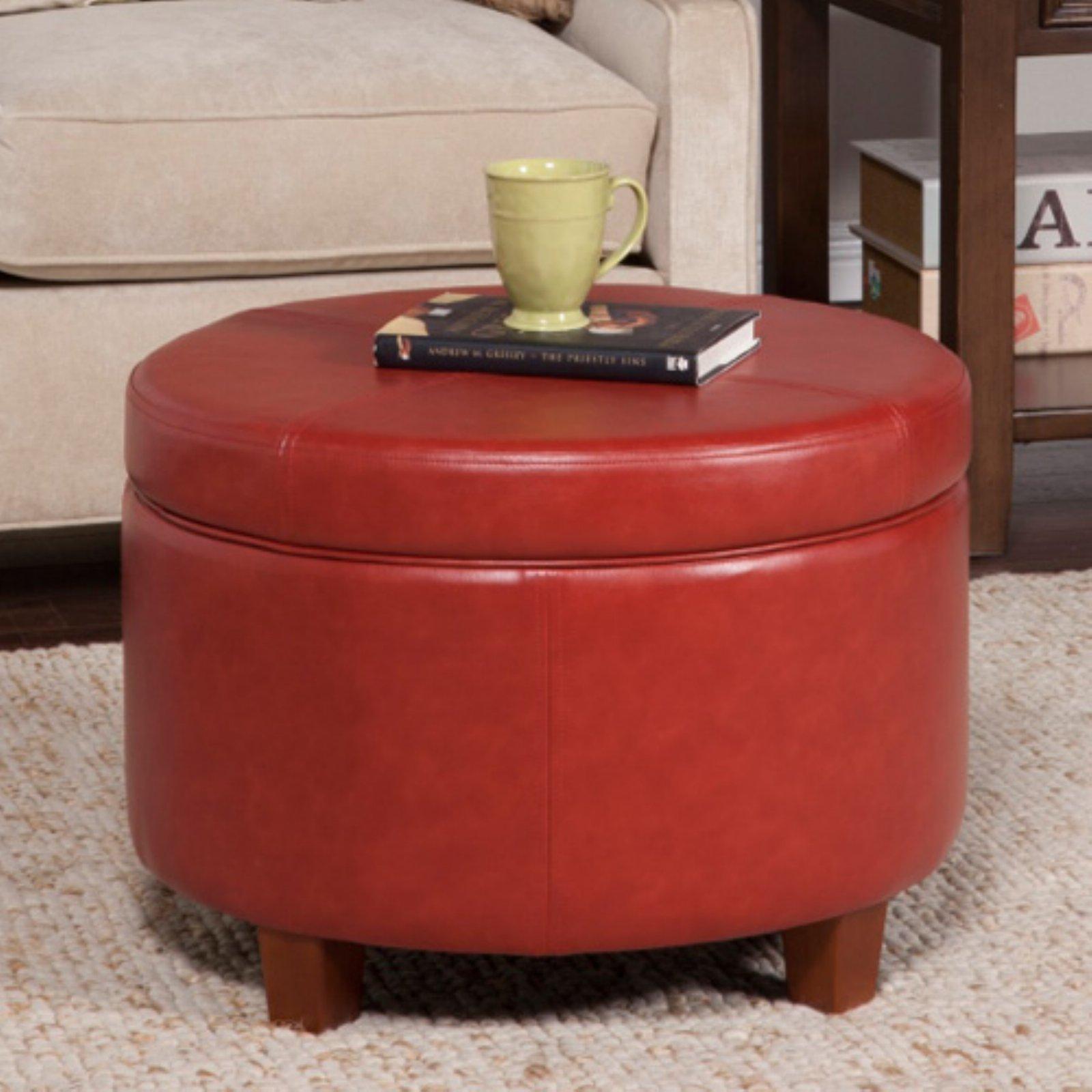 HomePop Large Leatherette Storage Ottoman, Multiple Colors