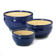 Pots Planters, Large Glazed Outdoor Planters, Ceramic Ocean Blue Planter Trio
