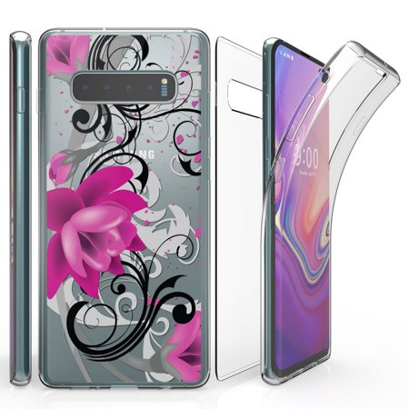 Beyond Cell Tri Max Series Compatible with Samsung Galaxy S10+ Plus, Slim Full Body Coverage Case with Self-Healing Flexible Gel Transparent Clear Screen Protector Cover - Magenta Lotus
