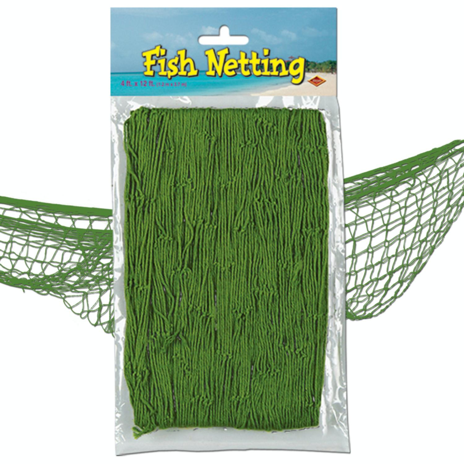 Pack of 12 Under the Sea Tropical Green Fish Netting Hanging Party Decor 12'