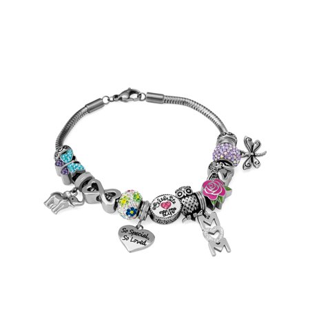 Crystal Stainless Steel Mom Charm Bracelet Set