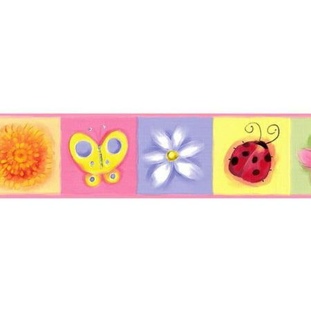 Jelly Bugs Border - Chesapeake GU92311B Bugs and Bloom Wallpaper Border, Pink