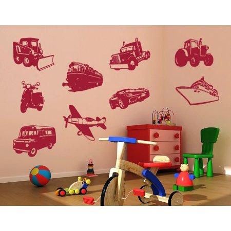 Vehicles Set Wall Decal kids wall decal sticker mural vinyl art home d