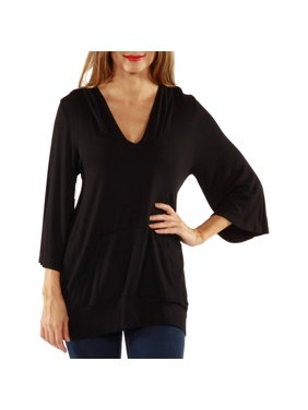 Product Image Women s 3 4 Sleeve Slip-on Hoodie Top. Product Variants  Selector. Black a546278e9c