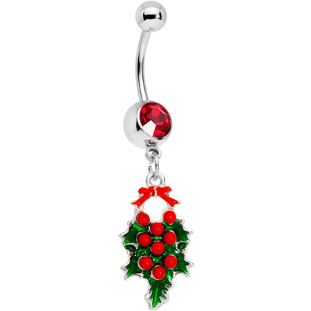 Red Belly Button Navel Ring (Body Candy 14G 12mm 316L Steel Navel Ring Red Accent Bow and Berries Mistletoe Belly Button Ring 1/2