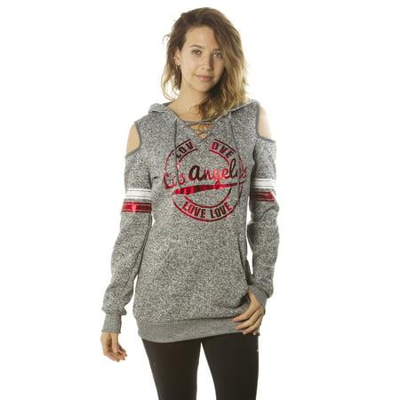 Ladies sweatshirt cold shoulder hoodies by special one