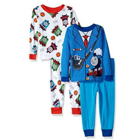 Thomas The Train Toddler Boys' 4-Piece Cotton Pajama Set, Crew Blue, 4T