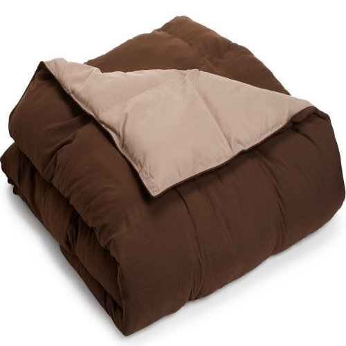 Grand Down Microfiber Reversible Comforter - Taupe / Chocolate