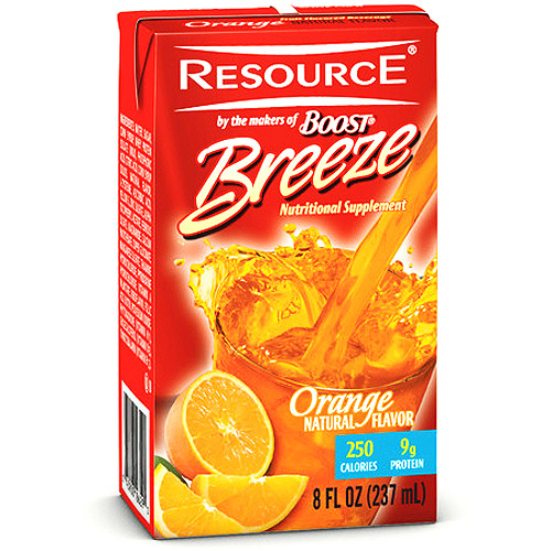 Resource Breeze, Clear liquid nutrition beverage, Orange 27 X 8-Ounce