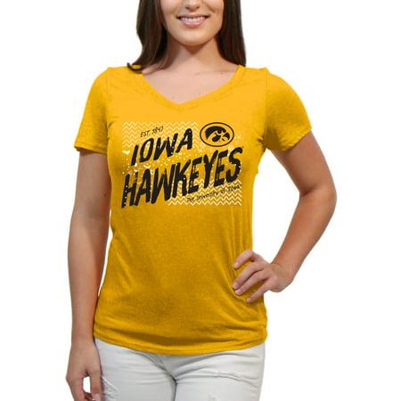 Iowa Hawkeyes Scatter Doodle Women'S/Juniors Team Short Sleeve V Neck Tee Shirt ()
