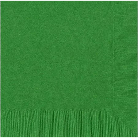 200 -  (4 Pks of 50) 2 Ply Plain Solid Colors Luncheon Dinner Napkins Paper - Kelly Green (Green Paper Napkins)