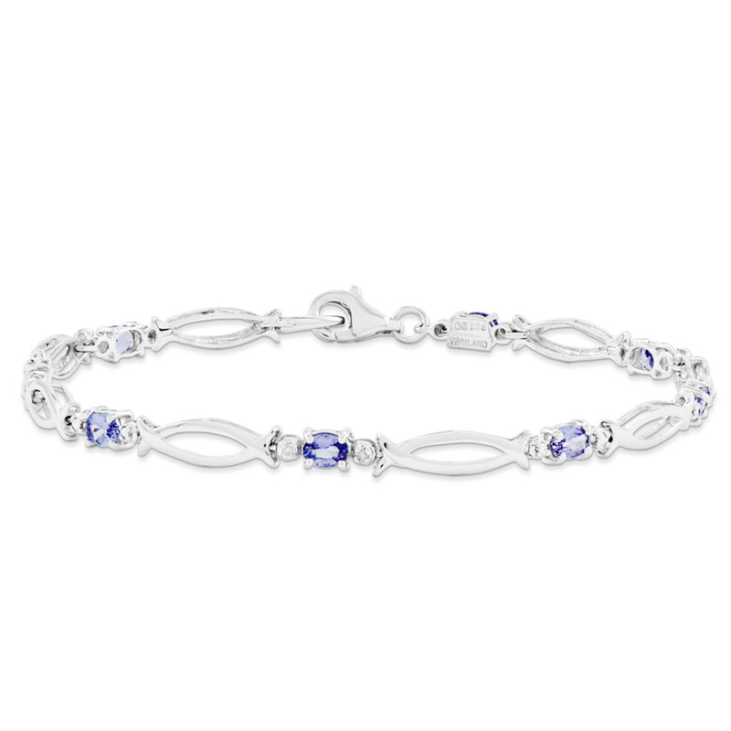 Sterling Silver Tanzanite and Diamond Bracelet by Kevin Jewelers