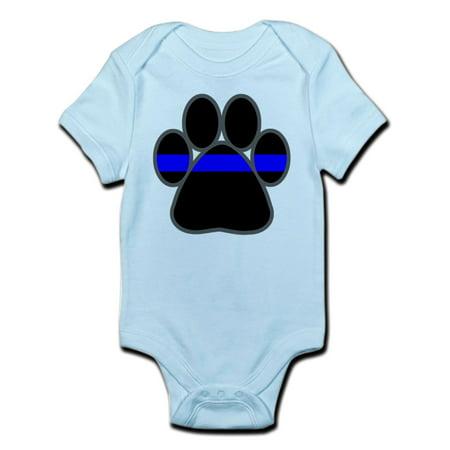 CafePress - Blue Line K9 Paw Infant Bodysuit - Baby Light (K9 Keeper Sleeper)