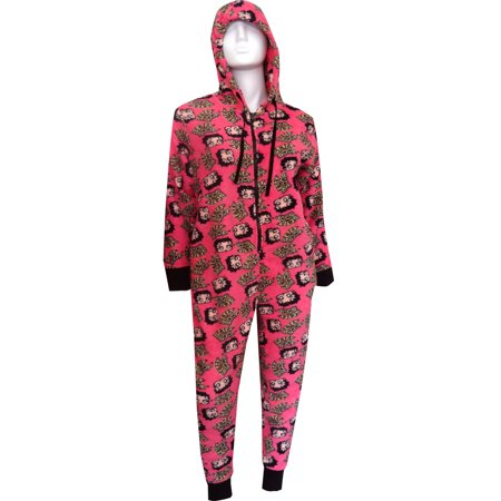 - Betty Boop Hot Pink Plush Onesie Hooded Pajama
