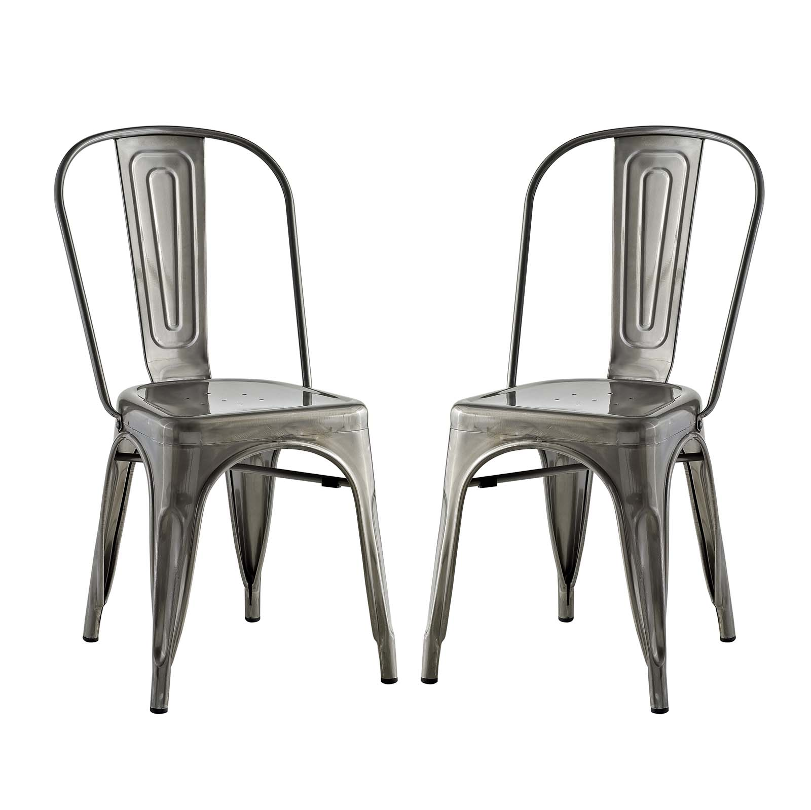 Modern Contemporary Urban Industrial Distressed Antique Vintage Style Kitchen Room Dining Chair ( Set of 2), Silver, Metal