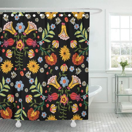 Traditional Bath Shower (PKNMT Mexican Ethnic with Colorful Flowers Traditional Floral Bouquet Tribal Style Shower Curtain Bath Curtain 66x72 inch)