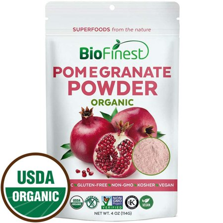 Biofinest Pomegranate Juice Powder - 100% Pure Freeze-Dried Antioxidants Superfood - USDA Certified Organic Kosher Vegan Raw Non-GMO - Boost Digestion Skin Care - For Smoothie Beverage Blend (4 oz)