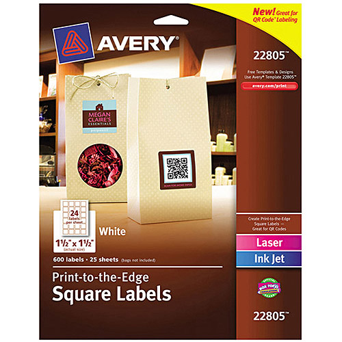 "Avery 22805 Easy Peel Print-to-the-Edge Matte Square Labels with TrueBlock, White, 1-1/2"" x 1-1/2"", 600 Labels/Pack"